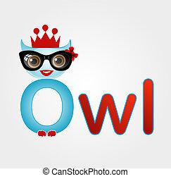 Nerd owl wearing a crown