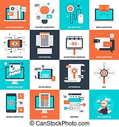 Digital Marketing - Abstract vector collection of flat...