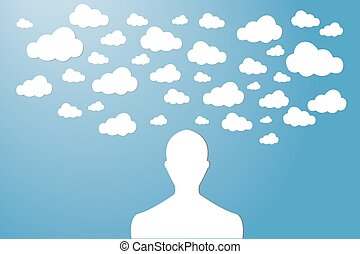 The man with his head in the clouds vector