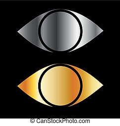 Set of eyes symbols in gold and sil