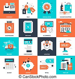 Shopping and Commerce - Abstract vector collection of flat...