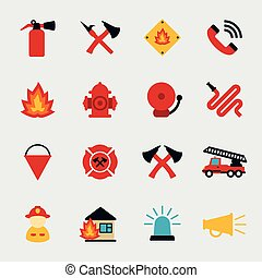 Fire fighter flat icons set. Equipment protection, flame and...
