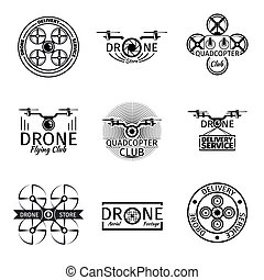 Aerial drone flying club labels, badges and logos vector set...