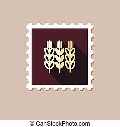 Spikelets of wheat flat stamp with long shadow, eps 10