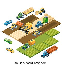 Isometric agricultural equipment, farm tractors, combain,...