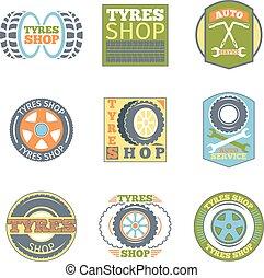 Tyre shop vintage flat badges. Car vulcanization, automobile...