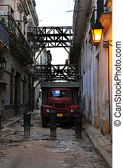 Messy havana street with old truck - View of shabby street...