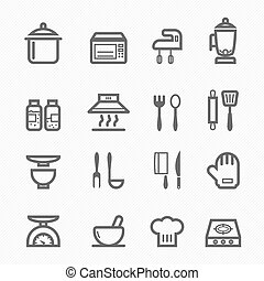 Kitchen symbol line icon on white background
