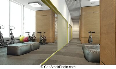 sport interior room flytrough 3d animation