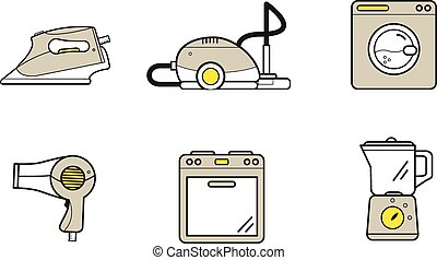 Line icons of home appliances, household devices for cooking...