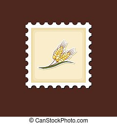 Spikelets wheat stamp, Harvest Thanksgiving vector -...