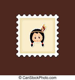 American Indian children stamp, Thanksgiving day, eps 10
