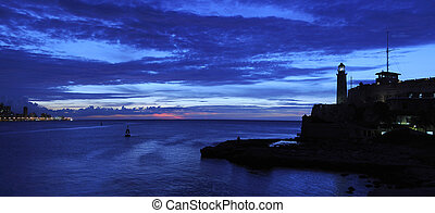 Nightfall on havana panorama - Panoramic view of El Morro...