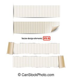 collection of torn paper on white background vector...