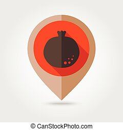 Garnet flat mapping pin icon, map pointer, vector...