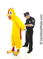 Policeman Arrests Man in Chicken Suit