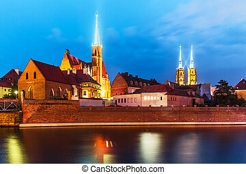Night view of Wroclaw, Poland - Scenic summer night view of...