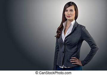 Businesswoman with a friendly expression - Stylish young...