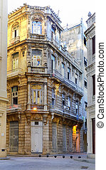 Old havana vintage decorated building - Detail of beatiful...