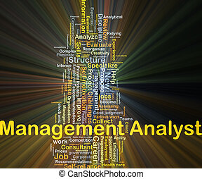Management analyst background concept glowing - Background...