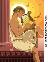 Apollo - God of the sun Apollo playing his lyre. No...