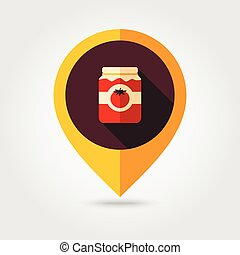 Tomato canned flat mapping pin icon, map pointer, vector...