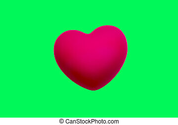 pink heart Isolated on green screen chroma key background.