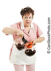 Sneaky Waitress Switches Coffee - Sneaky waitress...