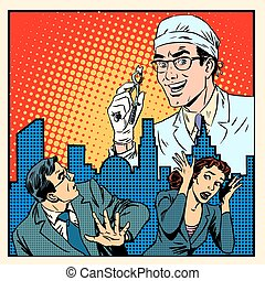 Fear of dentistry medical concept pop art retro style