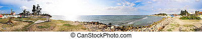 Santa fe beach panorama, cuba - Panoramic view of tropical...