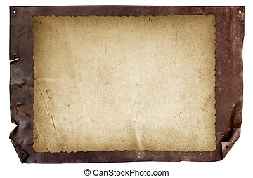 Blank Grunge Sign over Rusted Metal - Grunge poster sign...