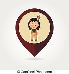 American Indian children mapping pin icon, Thanksgiving day,...
