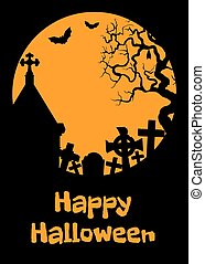 Halloween card with cript - Halloween card with crypt, tombs...