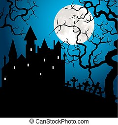 Halloween card with castle