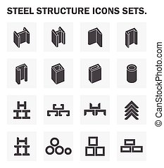 Steel structure icons sets