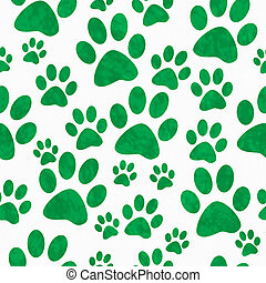 Green and White Dog Paw Prints Tile Pattern Repeat...