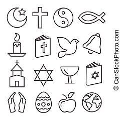 Religion Line Icons - Gray Religion Line Icons on white...