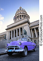 Old car in havana capitol - Old classic american car and...