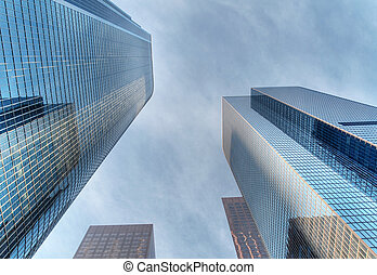 Modern skyscapers - Modern skyscrapers soaring in downtown...