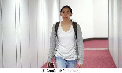 Asian tourist girl plane aero bridge - Asian tourist girl...