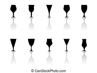 glasses icon set with reflection silhouette