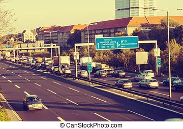 Motorway, Freeway at Rush Hour