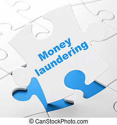 Currency concept: Money Laundering on puzzle background -...