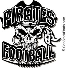 pirates football team design with pirate skull and laces