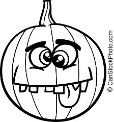 jack o lantern coloring book - Black and White Cartoon...
