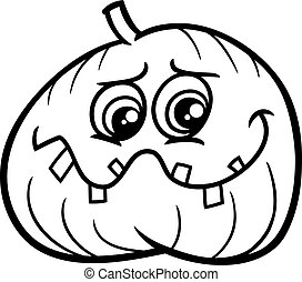 jack lantern pumpkin coloring book - Black and White Cartoon...