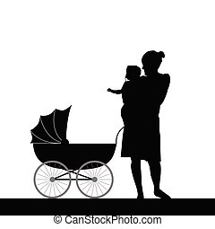 mother holding baby with carriage silhouette