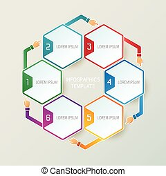 Abstract vector 6 steps infographic template in 3D style for layout workflow scheme, numbered options, chart or diagram
