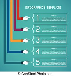 Abstract vector 5 steps infographic template in flat style...