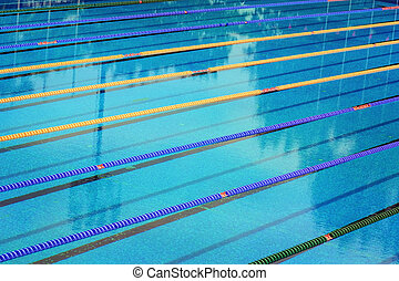 Swimming Pool With Lane Ropes